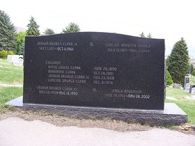Family grave marker, back view.