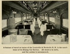 Interior of an L&N dining car, ca. 1921
