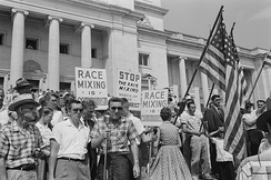A rally against school integration in Little Rock, Arkansas, 1959