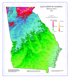Map of elevations in Georgia