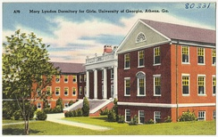 This postcard depicts Mary Lyndon Hall (built in 1938), named after the first female student at UGA to earn a graduate degree.[44]