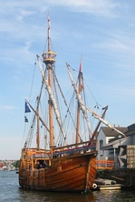 The replica of John Cabot's ship Matthew. The first cleric of the English Church sailed on her to North America in 1497.