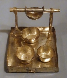 Model tray for making chicha, Peru, Chancay-Chimu, north central-coast, c. 1400 AD, silvered copper, Krannert Art Museum