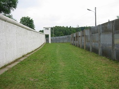 "Preserved section of the border between East Germany and West Germany called the ""Little Berlin Wall"" at Mödlareuth"