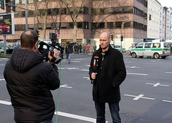 N24 reporter Steffen Schwarzkopf in Cologne, reporting about the collapse of the Historical Archive of the City of Cologne