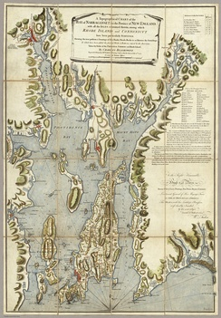 The Charles Blaskowitz Chart of Narragansett Bay published July 22, 1777 at Charing Cross, London