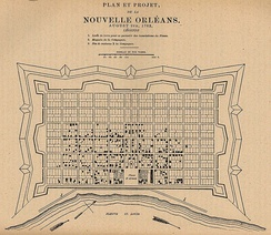 French diagram of New Orleans grid (1763), centered at Place d'Armes (Jackson Square) along the Fleuve St. Louis (Mississippi River).