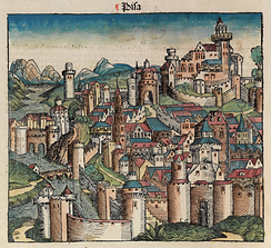 Idealized depiction of Pisa from the 1493 Nuremberg Chronicle.