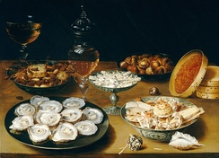 Osias Beert the Elder, from Antwerp. Dishes with Oysters, Fruit, and Wine, c. 1620/1625