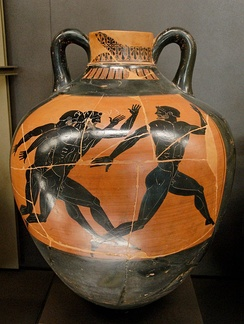 The foot race was one of the events dedicated to Zeus. Panathenaic amphora, Kleophrades painter, circa 500 BC, Louvre museum.