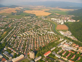 Partizánske in Slovakia – an example of a typical planned industrial city founded in 1938 together with a shoemaking factory in which practically all adult inhabitants of the city were employed