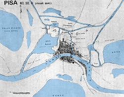 Map of Pisa in the 11th century