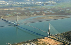 The Pont de Normandie over the Seine, between Le Havre and Honfleur, on the Normandy coast