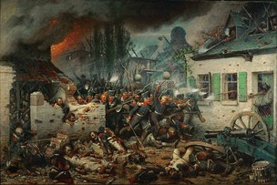 The Prussian attack on Plancenoit during the Battle of Waterloo, painted by Adolph Northen
