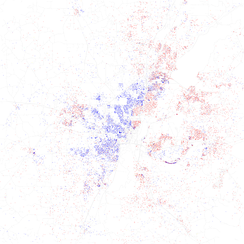 Map of racial distribution in Jackson, 2010 U.S. Census. Each dot is 25 people: White, Black, Asian, Hispanic or Other (yellow)
