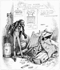An 1881 political cartoon about Carl Schurz's management of the Indian Bureau