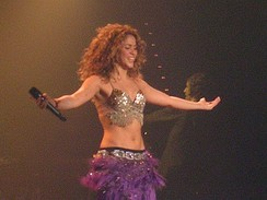"Shakira performing ""Suerte"" in A Coruña, Spain, in 2006."