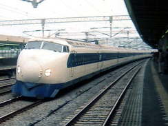 0-Series Shinkansen, introduced in 1964, triggered the intercity train travel boom.