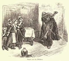 "This 19th-century representation of ""Tituba and the Children"" by Alfred Fredericks, originally appeared in A Popular History of the United States, Vol. 2, by William Cullen Bryant (1878)"