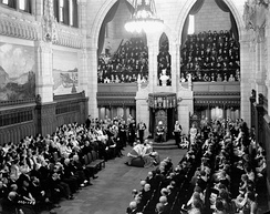 The Lord Tweedsmuir gives the Throne Speech at the opening of the third session of the 18th Canadian Parliament, 27 January 1938