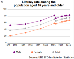 Egyptian literacy rate among the population aged 15 years and older by UNESCO Institute of Statistics