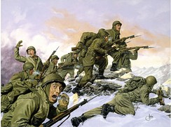 The Puerto Rican 65th Infantry Regiment's bayonet charge against a Chinese division during the Korean War.