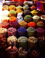 Traditional Middle Eastern spices at the Dubai Spice Souk in Deira, Old Dubai