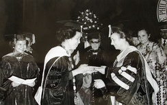Elena Ceauşescu becoming Doctor Honoris Causa of the University of Manila, Philippines, in 1975
