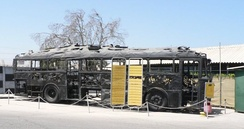 Charred remains of the bus hijacked and burnt by Palestinian militants in 1978 in the Coastal Road massacre