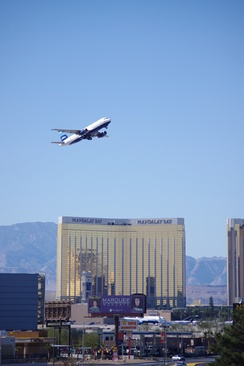 A JetBlue Airbus A320 taking off from McCarran International Airport.