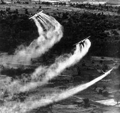 Three US Fairchild UC-123B aircraft spraying Agent Orange during the Operation Ranch Hand as part of the overall herbicidal warfare operation called Trail Dust with the aim to deprive the food and vegetation cover of the Việt Cộng, c. 1962–1971.