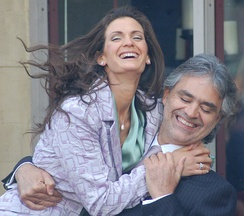 Bocelli with then fiancée Veronica Berti in March 2010