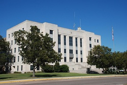 The Brazoria County Courthouse, located in Angleton