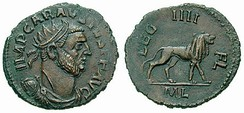 Carausius, rebel emperor of Roman Britain. Most of the evidence for Carausius' reign comes from his coinage, which was of generally fine quality.[96]