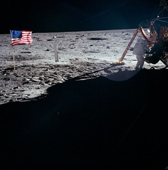 Neil Armstrong working at the lunar module
