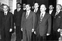 Members of the National Command of the Iraqi-dominated Arab Socialist Ba'th Party: from left to right Secretary General Michel Aflaq, Vice President of Iraq Saddam Hussein (second line), Assistant Secretary General Shibli al-Aysami (mid left) and President of Iraq Bakr (mid right) among others