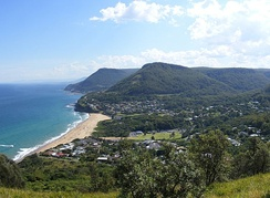 Scenic view of Wollongong's northern coastline from Bald Hill, overlooking Stanwell Park