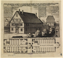 A 1627 engraving of the Bamberg Malefizhaus, where suspected witches were held and interrogated