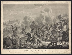 Portuguese and British troops fighting the French at Vimeiro.