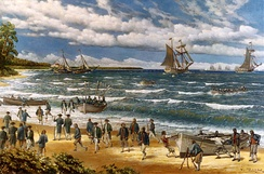 Continental Marines land at New Providence during the Battle of Nassau in 1776