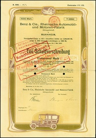 bond of the Benz & Cie, issued 1912