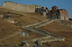 The entrance of the citadel of Berat, with the 13th-century Byzantine church of the Holy Trinity.