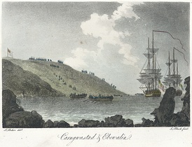 A small French force tried to invade Britain in February 1797. This contemporary image shows troops landing near Fishguard in Wales. The troops were later forced to surrender.