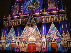 Cathedral of St John, Lyon, illuminated for a festival