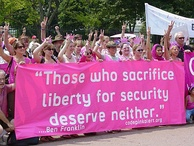 Code Pink is an American women's activist group opposing war and globalization.