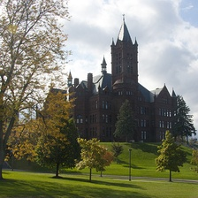 Crouse College, a Romanesque building completed in 1889, housed the first College of Fine Arts in the United States. It is now the home of the university's College of Visual and Performing Arts and the Setnor School of Music.
