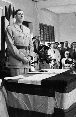 Charles de Gaulle at the inauguration of the Brazzaville Conference, 1944