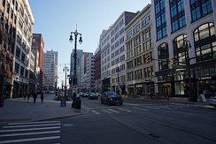 Merchants Row on Woodward Avenue between Grand Circus Park and Campus Martius Park in downtown Detroit