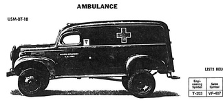 The ​1⁄2-ton VC-series didn't include an ambulance, but the 1​1⁄2-ton VF-series did. The VF-407 was Dodge's first 4x4 military ambulance — only 3 were made.