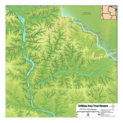 Relief map of the central Driftless Area emphasizing the high density of trout waters in the region.
